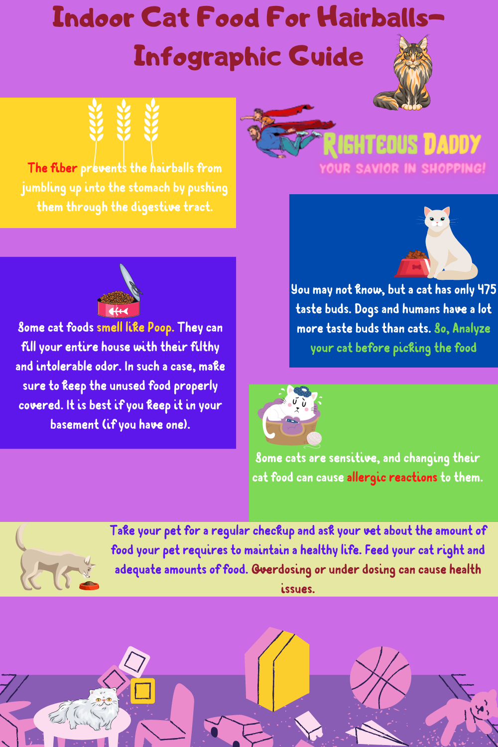 best indoor cat food for hairballs issue infographic buyer guide